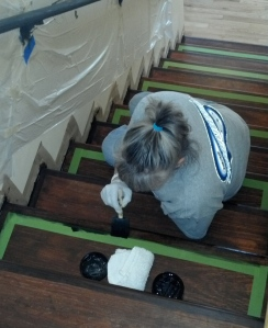 Cookie - Taping off inlaid wood stairs